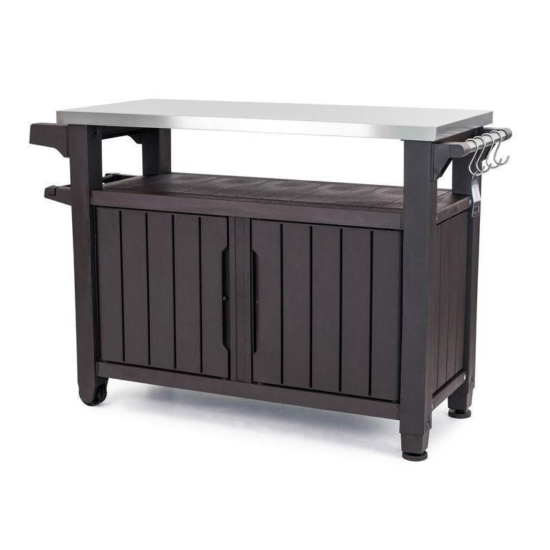Outdoor Grill Party Caster Bar Serving Cart With Storage Dark Brown Metal Grill Bar Serving Cart Serving Cart