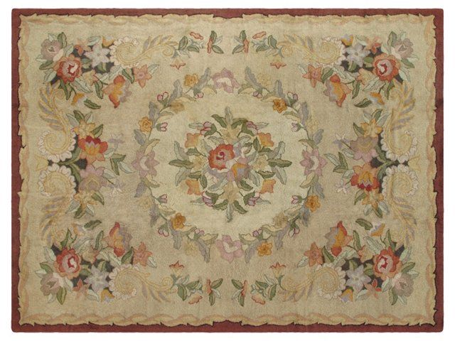 Antique Hooked Carpet,  9' x 12'