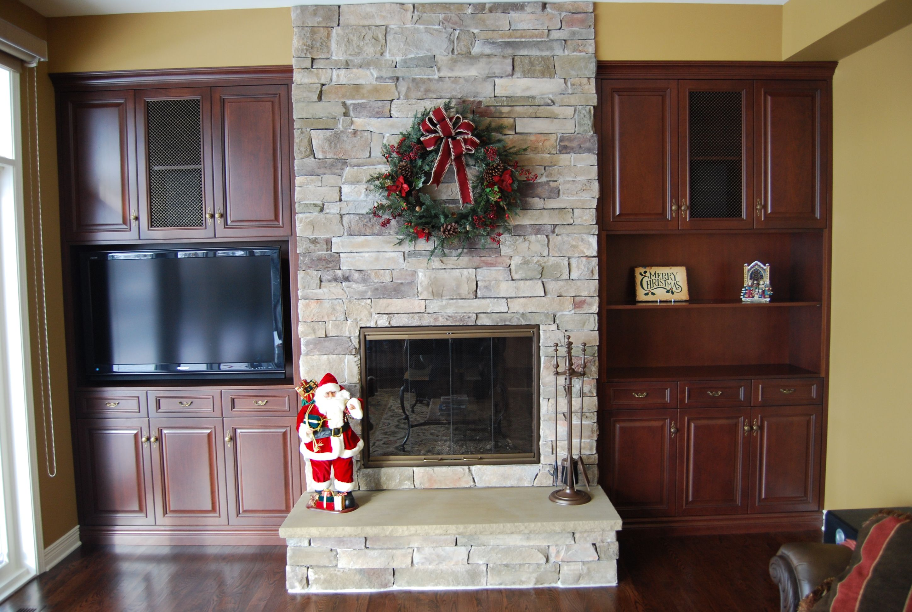 fireplace done with cultured stone bucks county country ledgestone