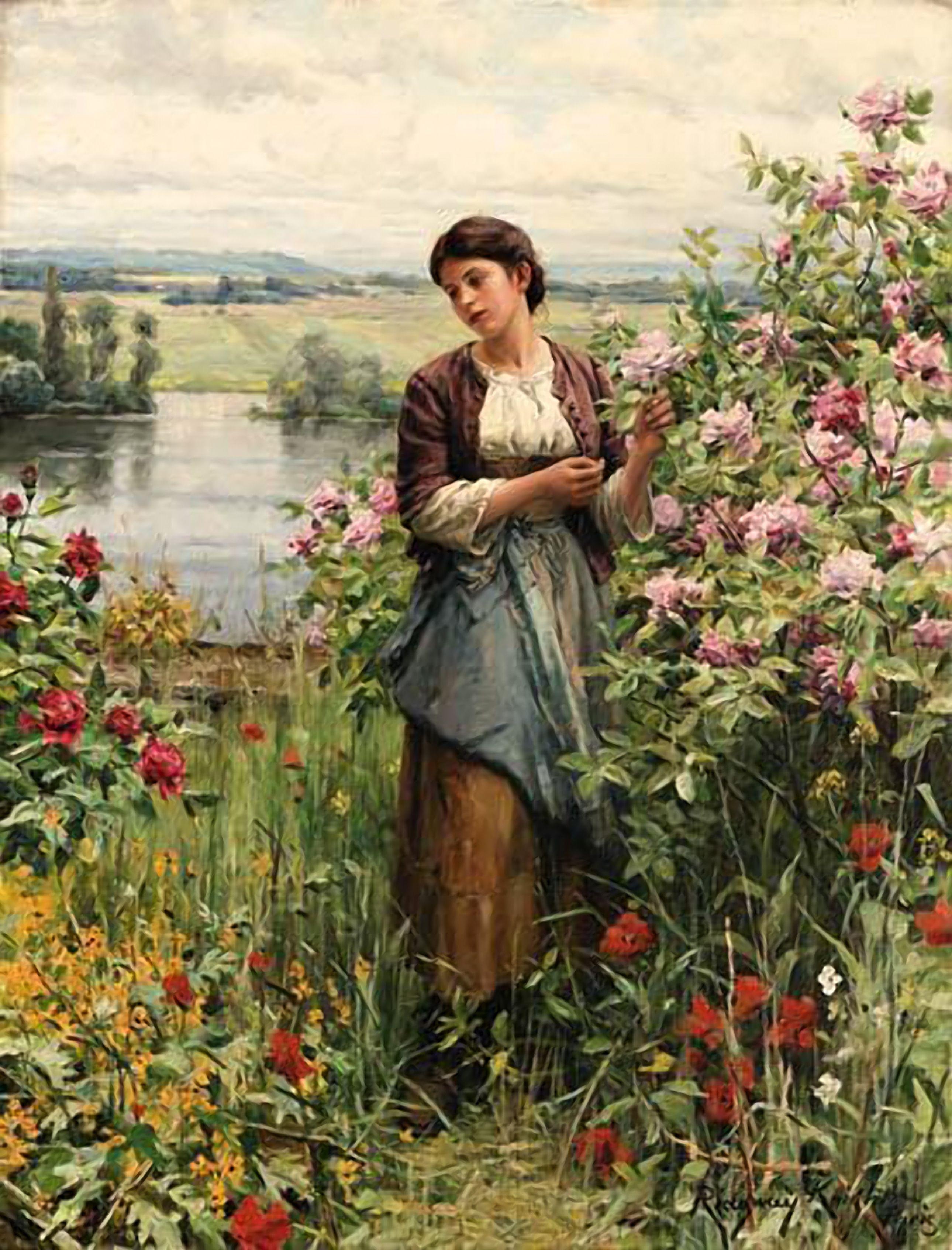 Daniel Ridgway Knight (1839-1924) Julia Among The Roses (117 x 89 cm ...