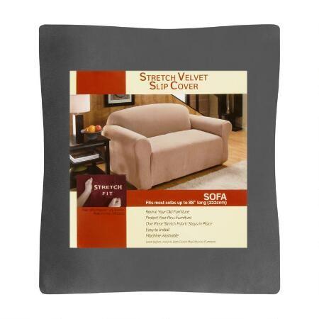 Solid Stretch Velvet Sofa Slipcover