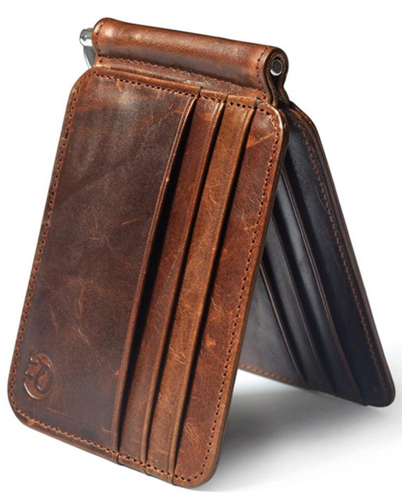Men Accessories Money Clip Credit Card Holder Leather Wallet Cowhide Purse
