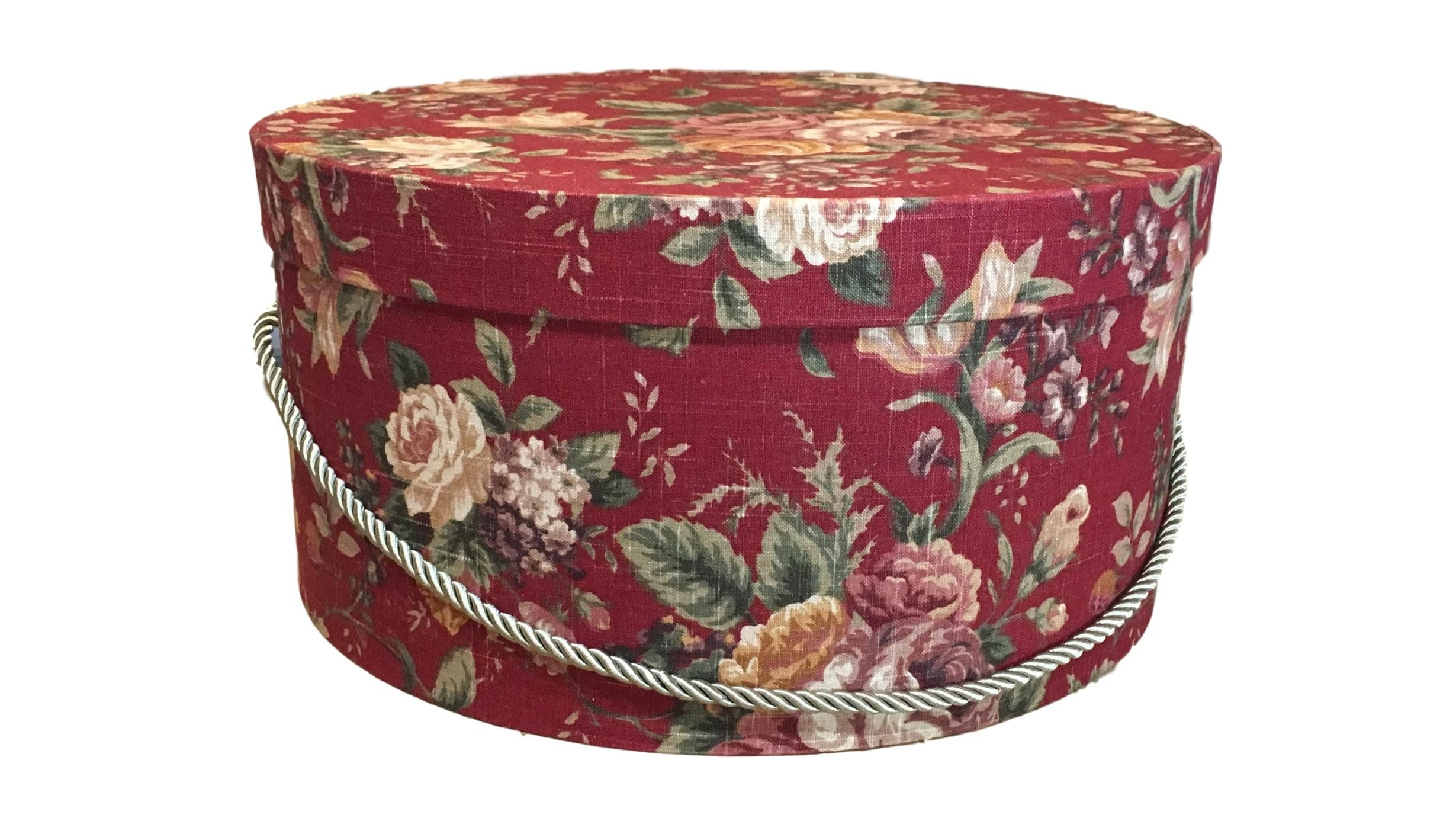 Extra Large Hat Box In Red Floral Large Decorative Fabric Covered