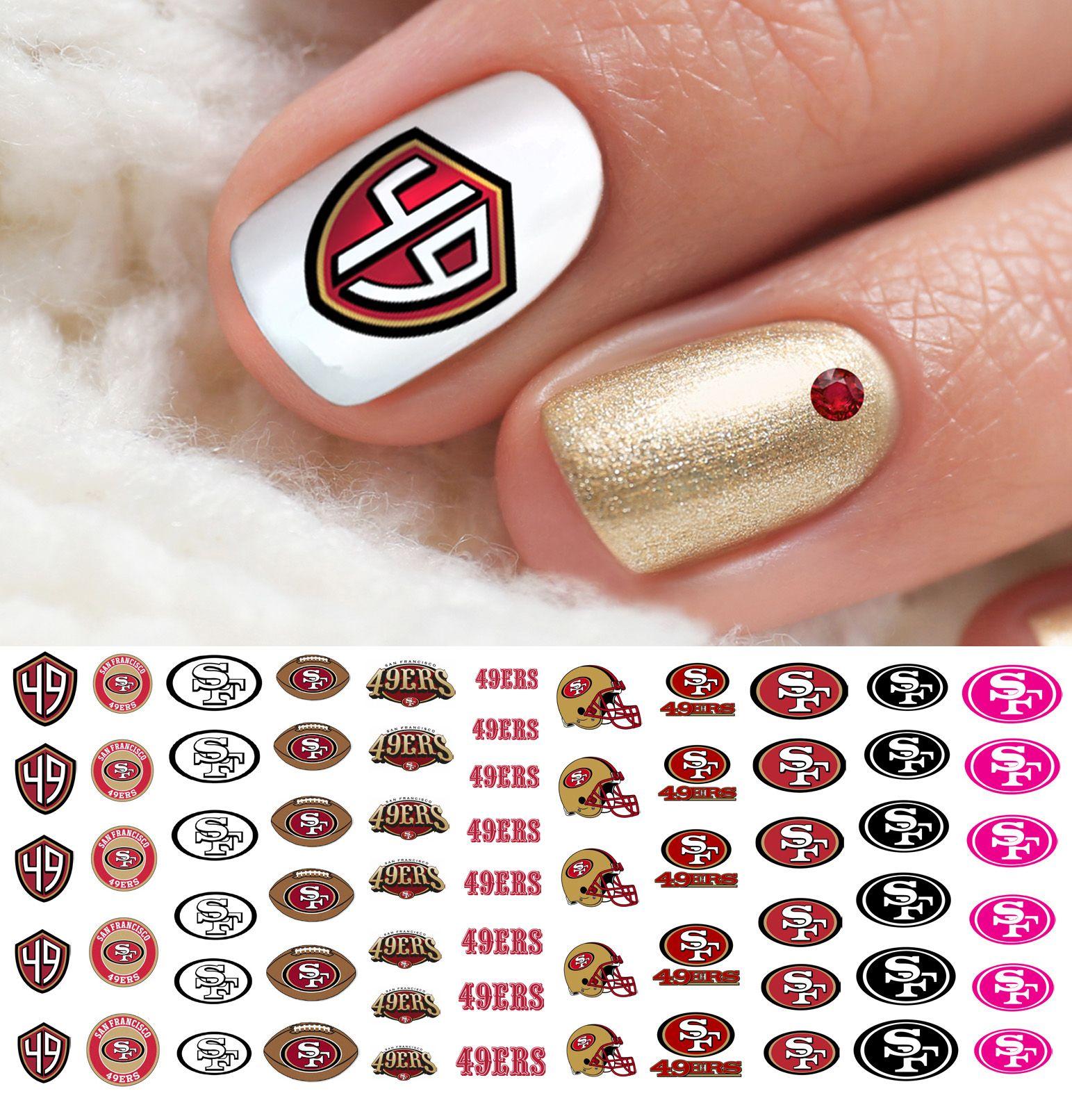 San Francisco 49ers Football Nail Art Decals Football Nails Football Nail Designs Football Nail Art