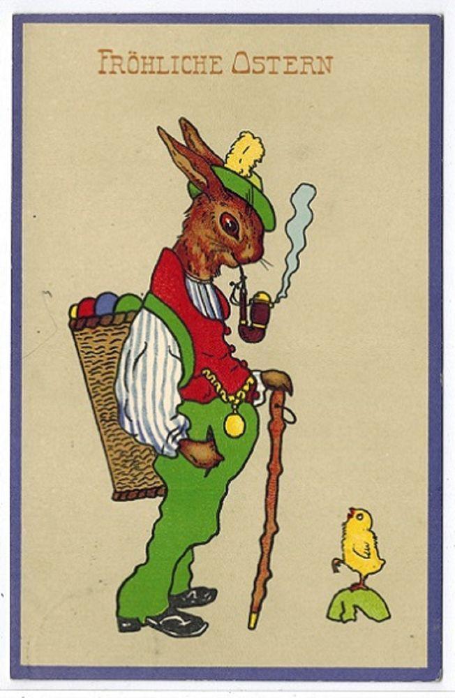 Vintage Fantasy Humanized Bunny Dressed  Rabbit Greets Chick Easter Postcard #Easter
