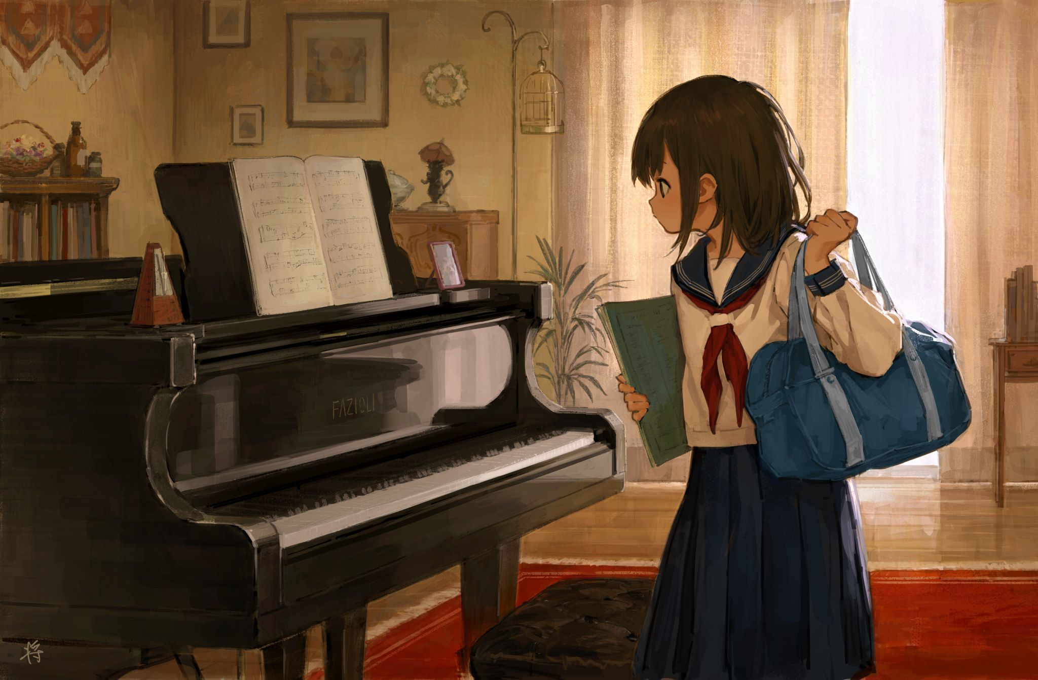 Original Characters Anime Anime Girls School Uniform Piano Wallpaper No 744001 Wallhaven Cc Piano Anime Piano Anime Art Girl