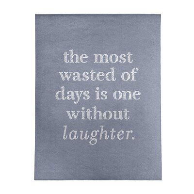 East Urban Home Handwritten Laughter Inspirational Quote Poly Chenille Rug, Chenille in Blue, Size Rectangle 9' x 12' | Wayfair