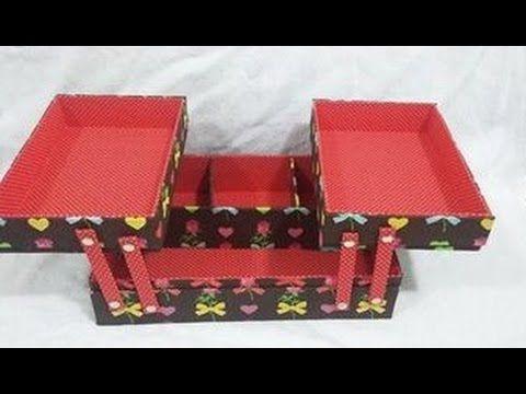 caixa com bandejas articuladas DIY - YouTube
