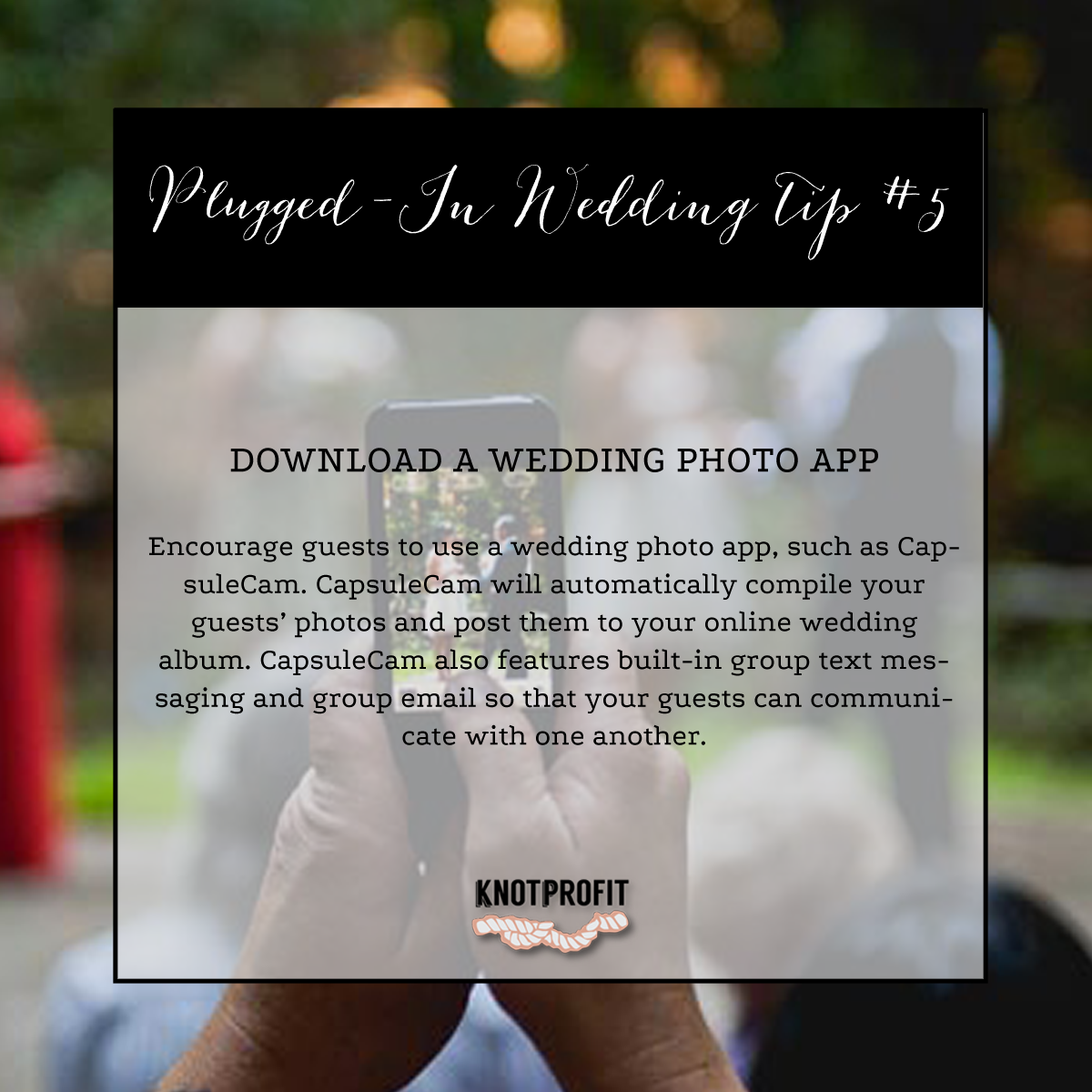 Tips for a plugged-in #wedding: http://knotprofit.com/blog/plugged-in-wedding/