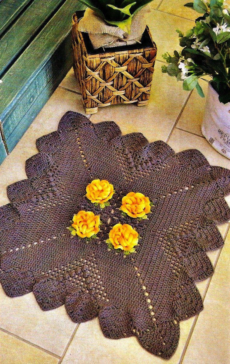 CROCHE COM RECEITA: Tapete em croche quadrado floral