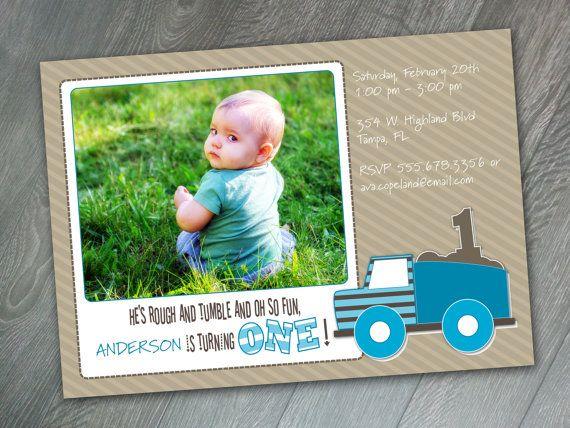 Dump Truck One Printable  First Birthday by CucumberAppleStudio, $10.00