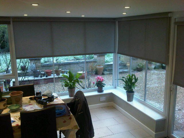 Large Roller Blinds For Sunroom In Marle Walnut From Louvolite