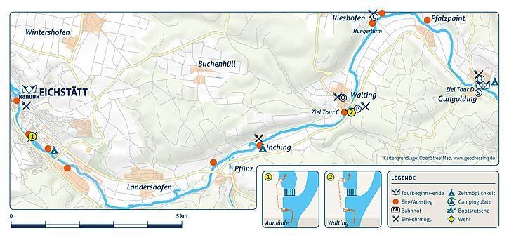 Flusskarte Altmuhl Von Eichstatt Nach Gungolding Kanu Kanutour