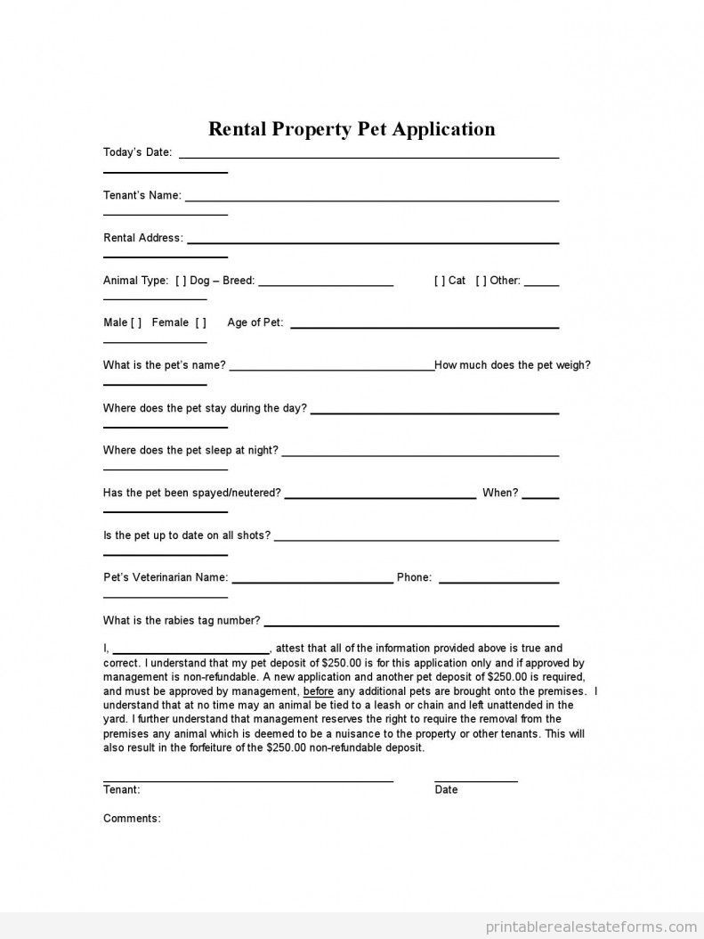 Rental Property Pet Application Rental Agreement Templates Rental Application Real Estate Forms