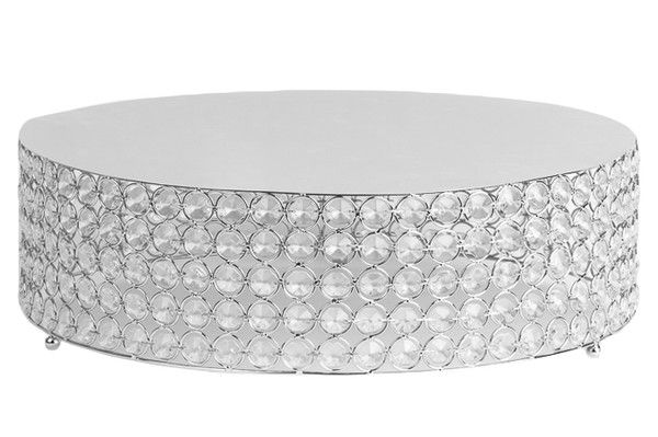 Crystal 18 Round Cake Stand Silver, Silver Round Cake Plateau