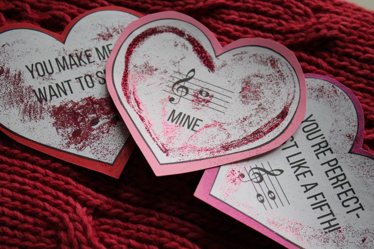 music themed valentines day card printablediy  music