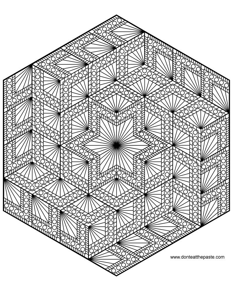 Diamond hexagon mandala to color my mandalas pinterest for Geometric mandala coloring pages