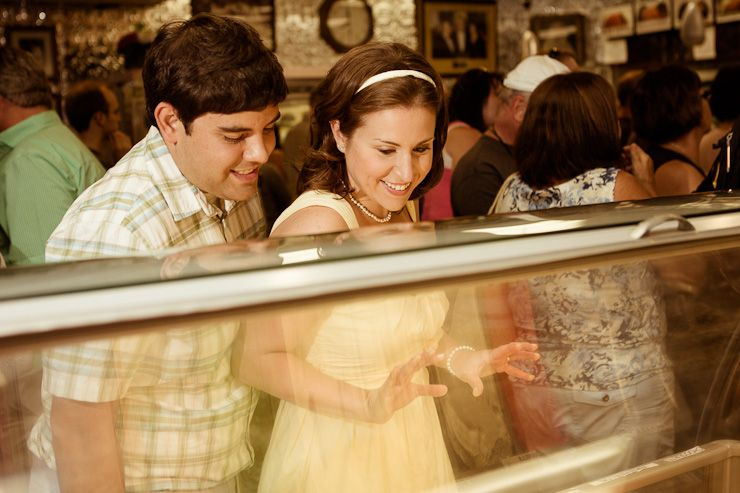 Vintage Engagement Shoot at Mike's Pastries in Boston by Fucci's Photos