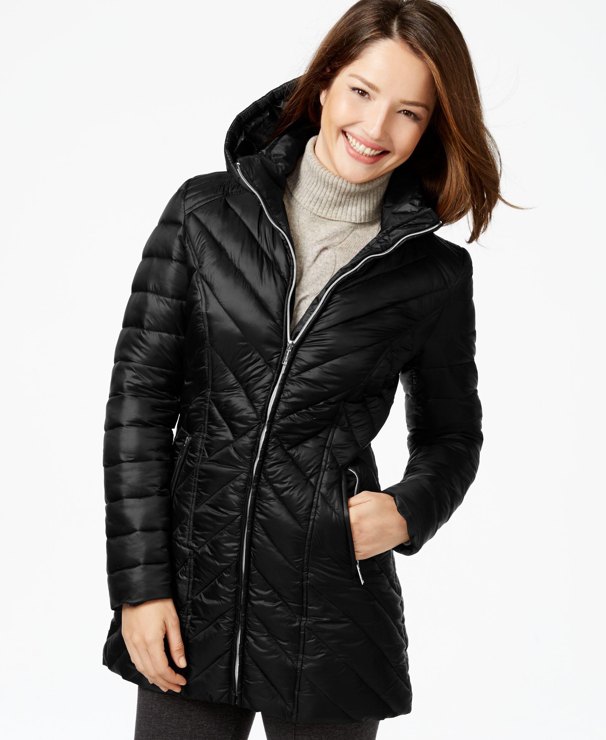 Nautica Hooded Quilted Puffer Coat Coats Women Macy S Puffer Coat Coats For Women Puffer