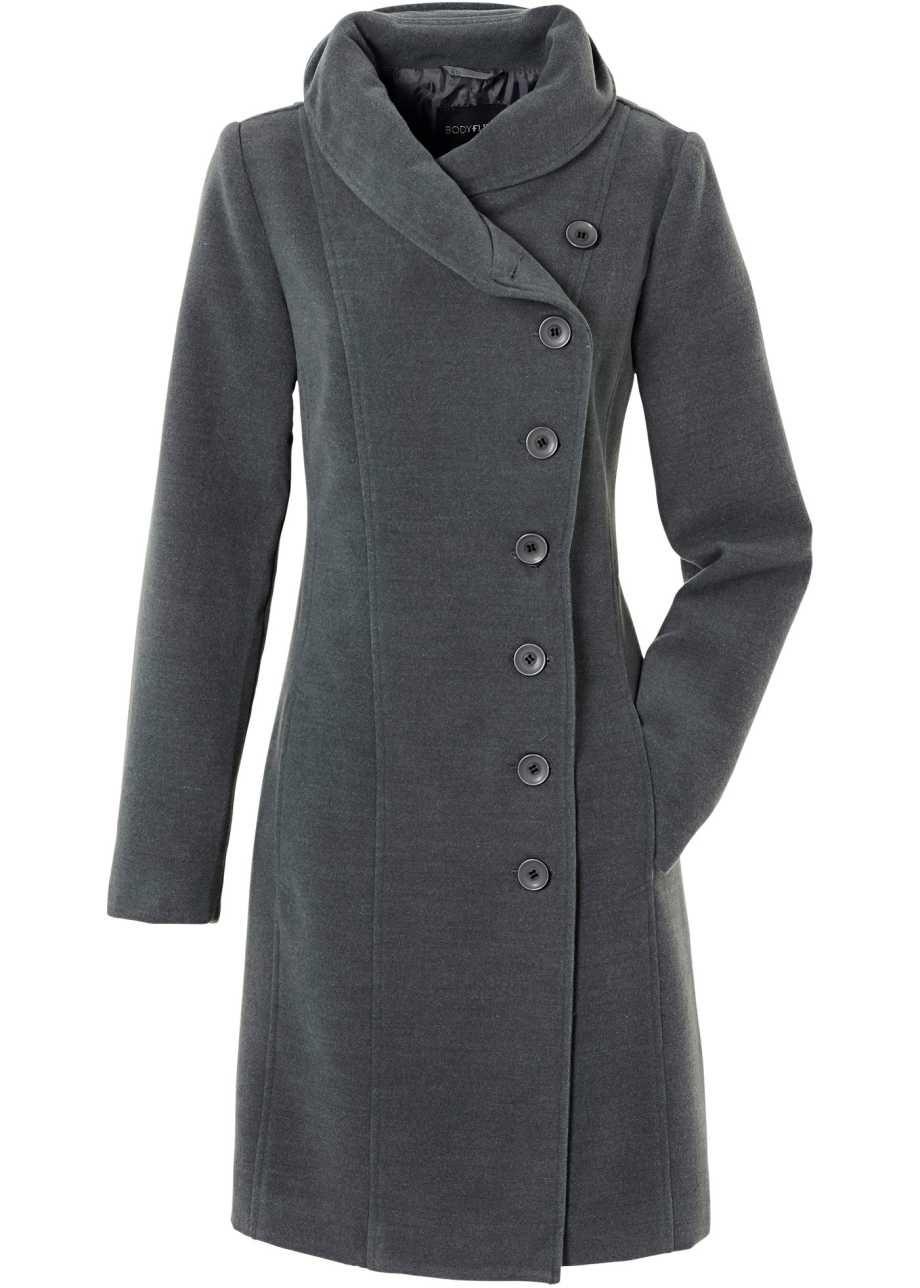 Eleganter Mantel Mit Besonderem Kragen Anthrazit Meliert Mantel Modestil Tuch