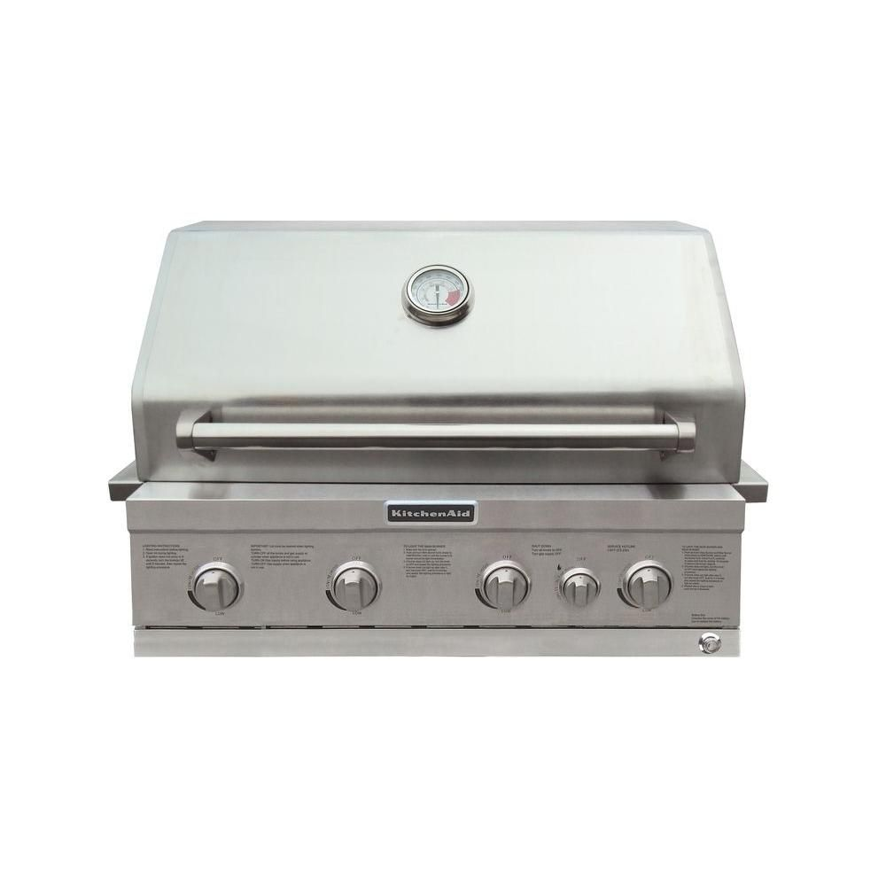 KitchenAid 4-Burner Built-in Propane Gas Island Grill Head in ...