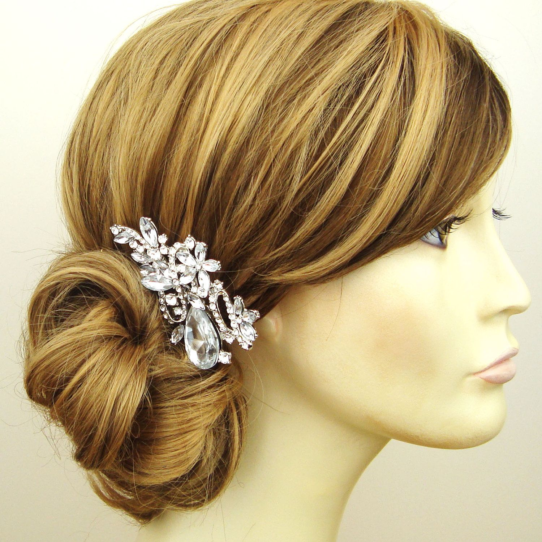 rhinestone wedding hair comb, rhinestone and pearl flower vintage