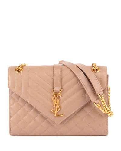 b38b22e2c8 Saint Laurent V Flap Monogram YSL Medium Envelope Chain Shoulder Bag - Golden  Hardware