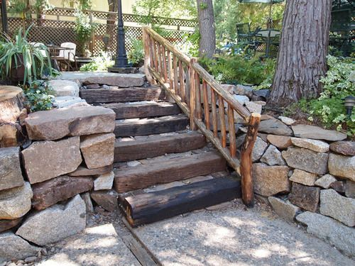 Stone Steps On The Hill With Wood Handrail Outdoor Design | Wooden Handrail For Garden Steps | French Door Garden | Garden Stair | Landscape | Outside Step | Outdoor Near Me Step