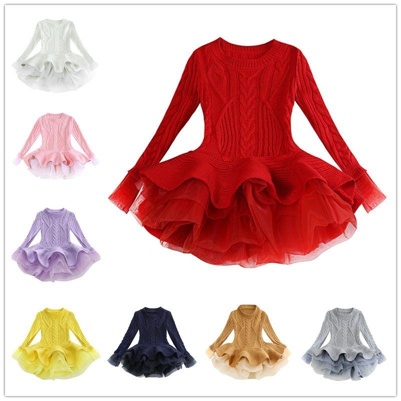 74f2e584ca7 Autumn   Winter New  Girls Organza  Sweater  Dress Girl Long  Sleeved Puff   Princess Dress 3-9T 8 Colors