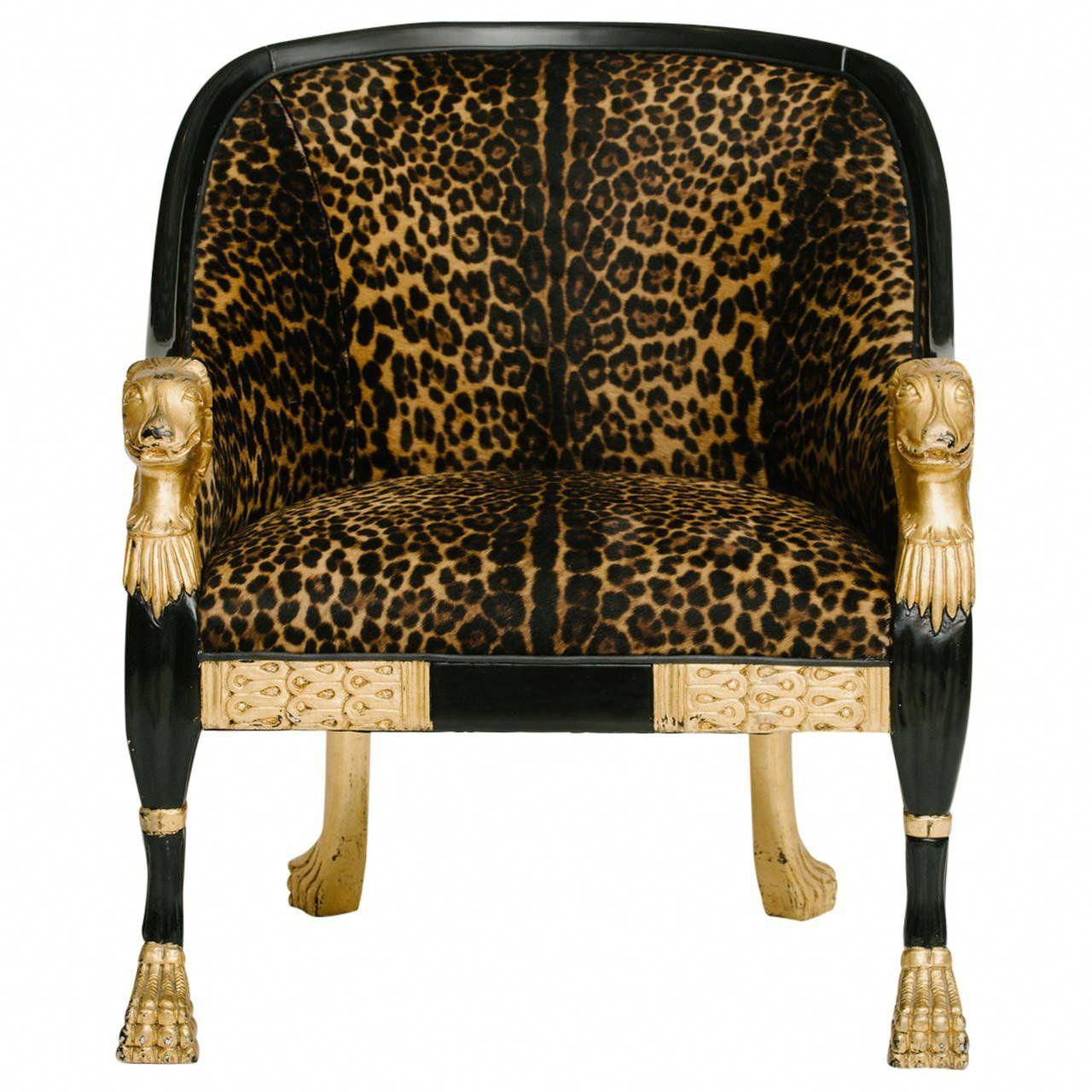 Empire Style Leopard Pony Hide Bergere Leopardchair Accent Chairs For White Dining