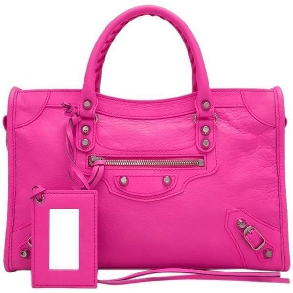 Pre Owned Balenciaga 2017 Hot Pink Small City Classic Silver Hardware 1 865