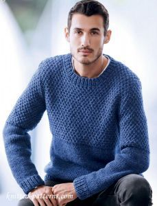 Men's sweater knitting pattern free | Mens knit sweater