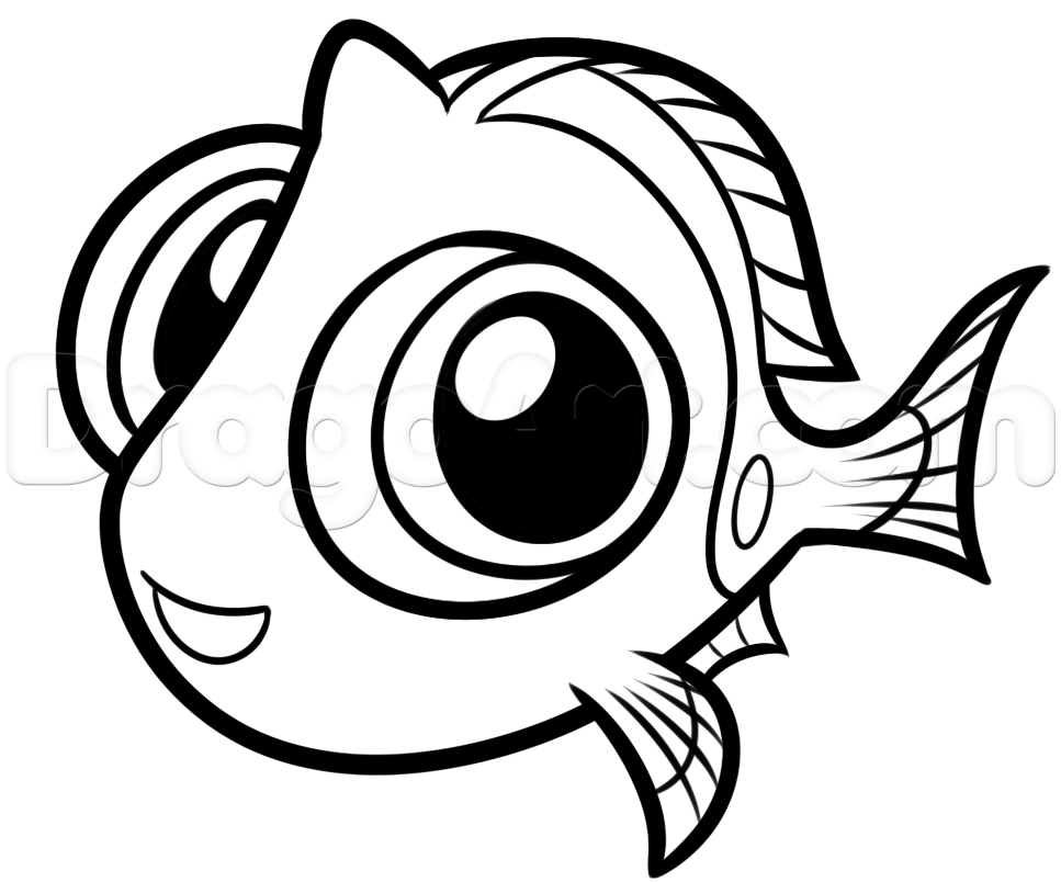 Cartoon Characters To Draw : How to draw baby dory step by disney characters