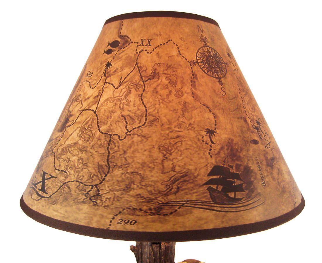 Pirate Skeleton W/ Treasure Table Lamp W/ Shade | Sea ...