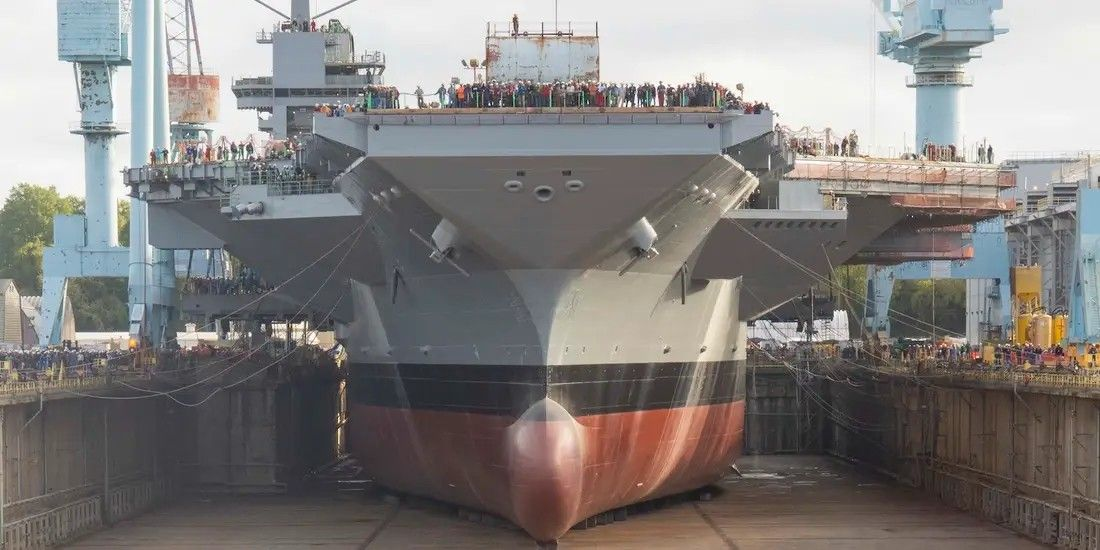 Pre Commissioning Unit John F Kennedy Reaches Another Milestone In Its Construction As Its Dry Dock Area Is Fl Aircraft Carrier Navy Aircraft Carrier Aircraft