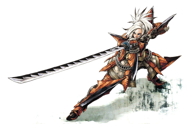 Fantastical Female Warrior Monster hunter, Monster