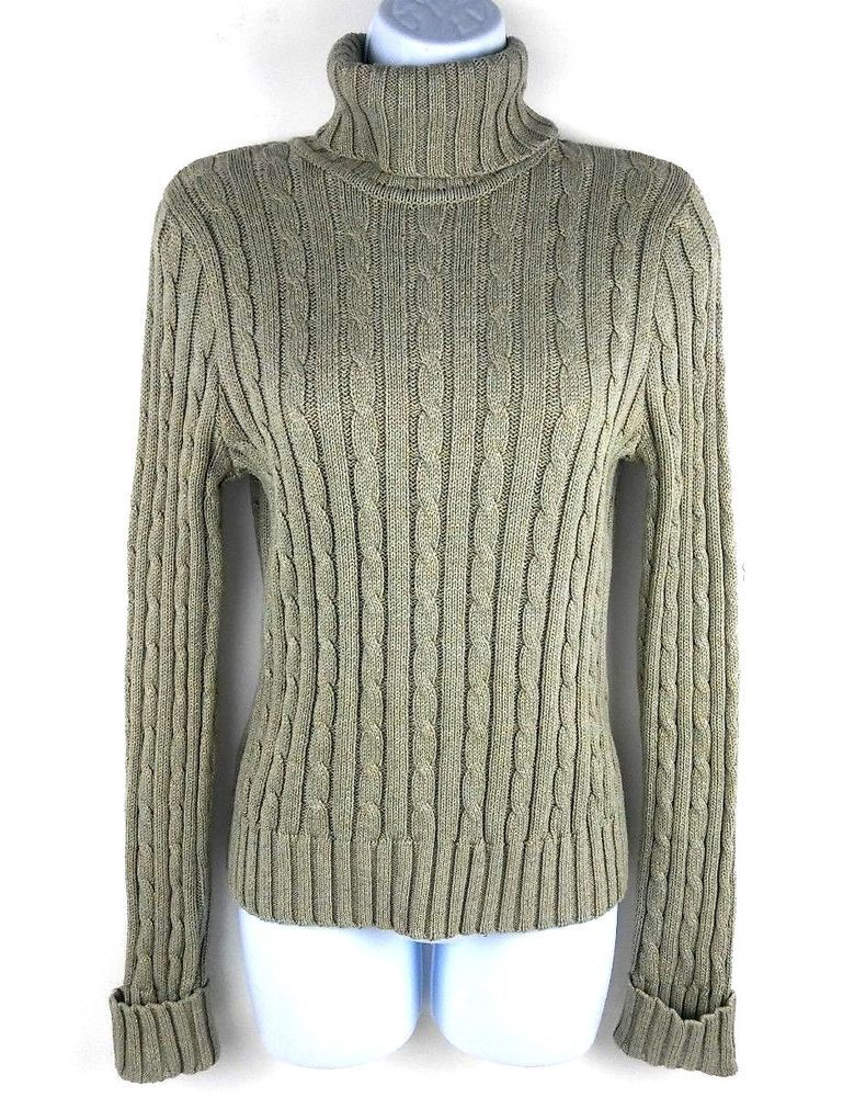 636997c202618 Jeanne Pierre Womens Turtleneck Sweater Size Medium Olive Green Taupe Cable  Knit  JeannePierre  TurtleneckMock