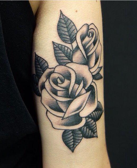 Black and bold tattoo - roses #rosetattoo #rose #tattoo #oldschool #blackandbold