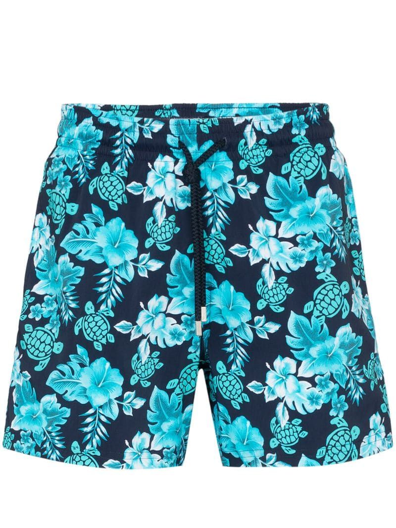 Mens 3D Printed Swim Trunks Polyester Turtle Swimsuit with Pockets