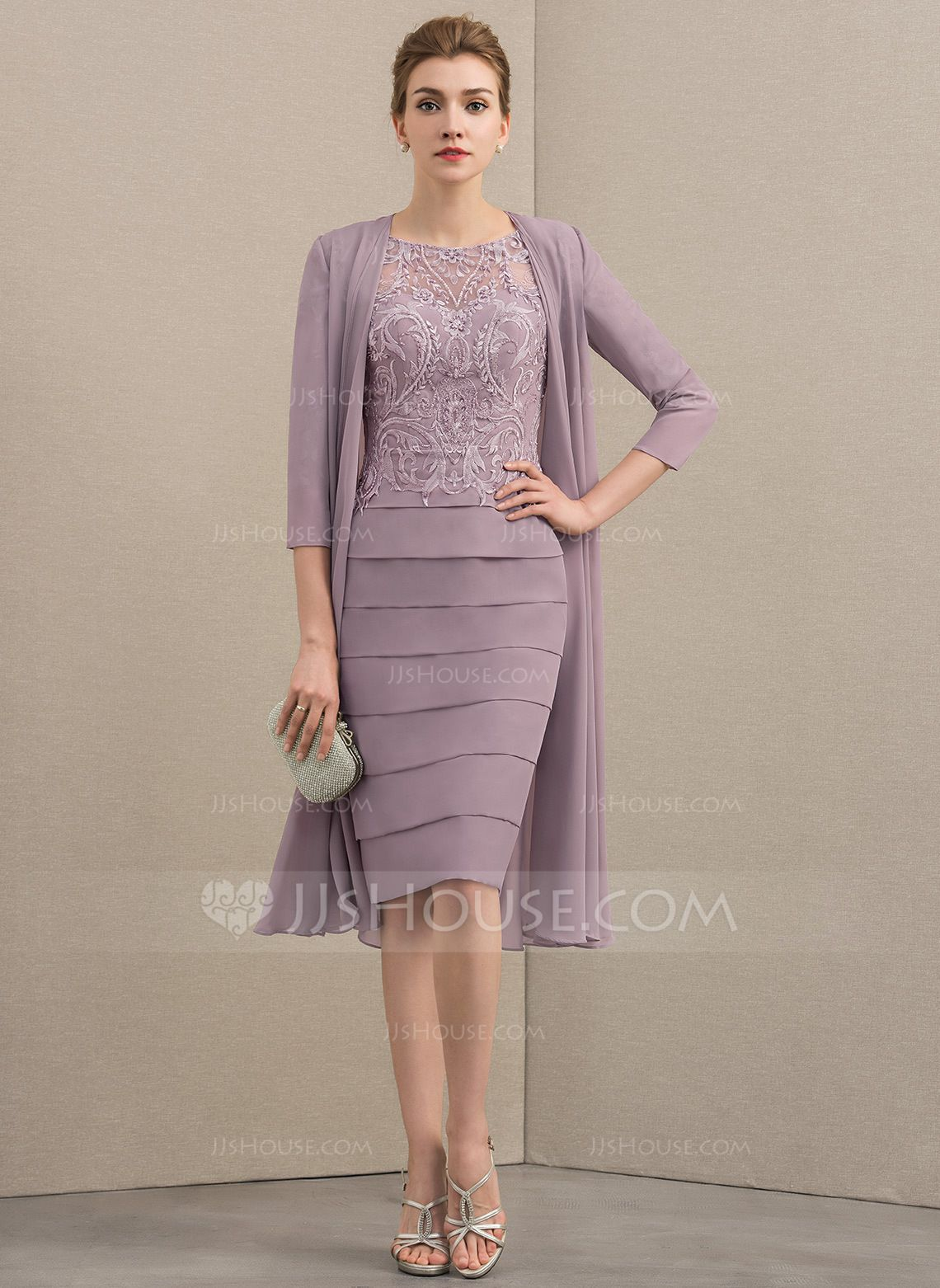 a0e1ea4a4dc Sheath Column Scoop Neck Knee-Length Chiffon Lace Mother of the Bride Dress  With Beading Sequins (008152137) - Mother of the Bride Dresses - JJ s House