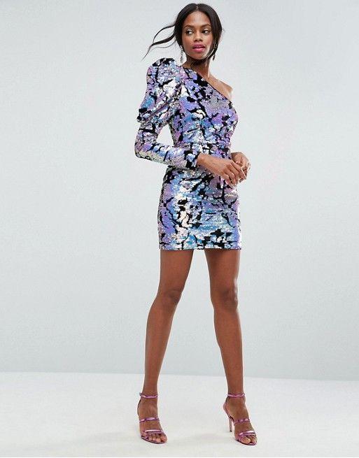 ASOS Velvet Sequin One Shoulder Mini Dress  0deab9f78