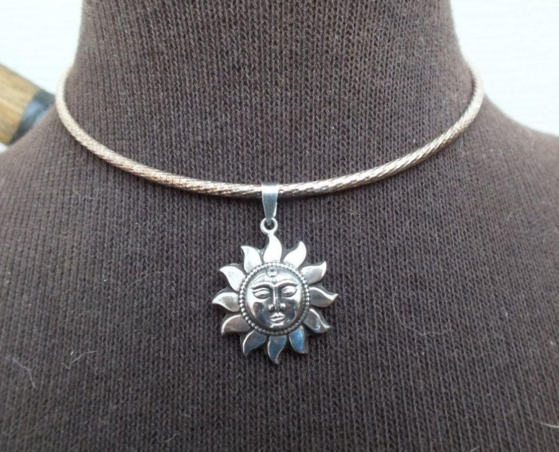 Sun Moon Pendant In Sterling Silver on 16\