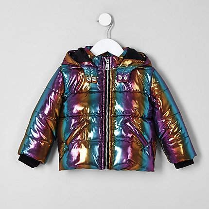01a5942fb River Island Mini girls blue rainbow hooded puffer jacket   Products ...