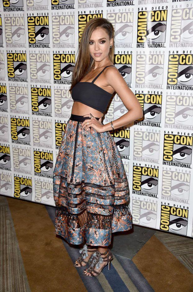Jessica alba wearing tanya taylor cropped black bandeau - Tanya zimmerman ...