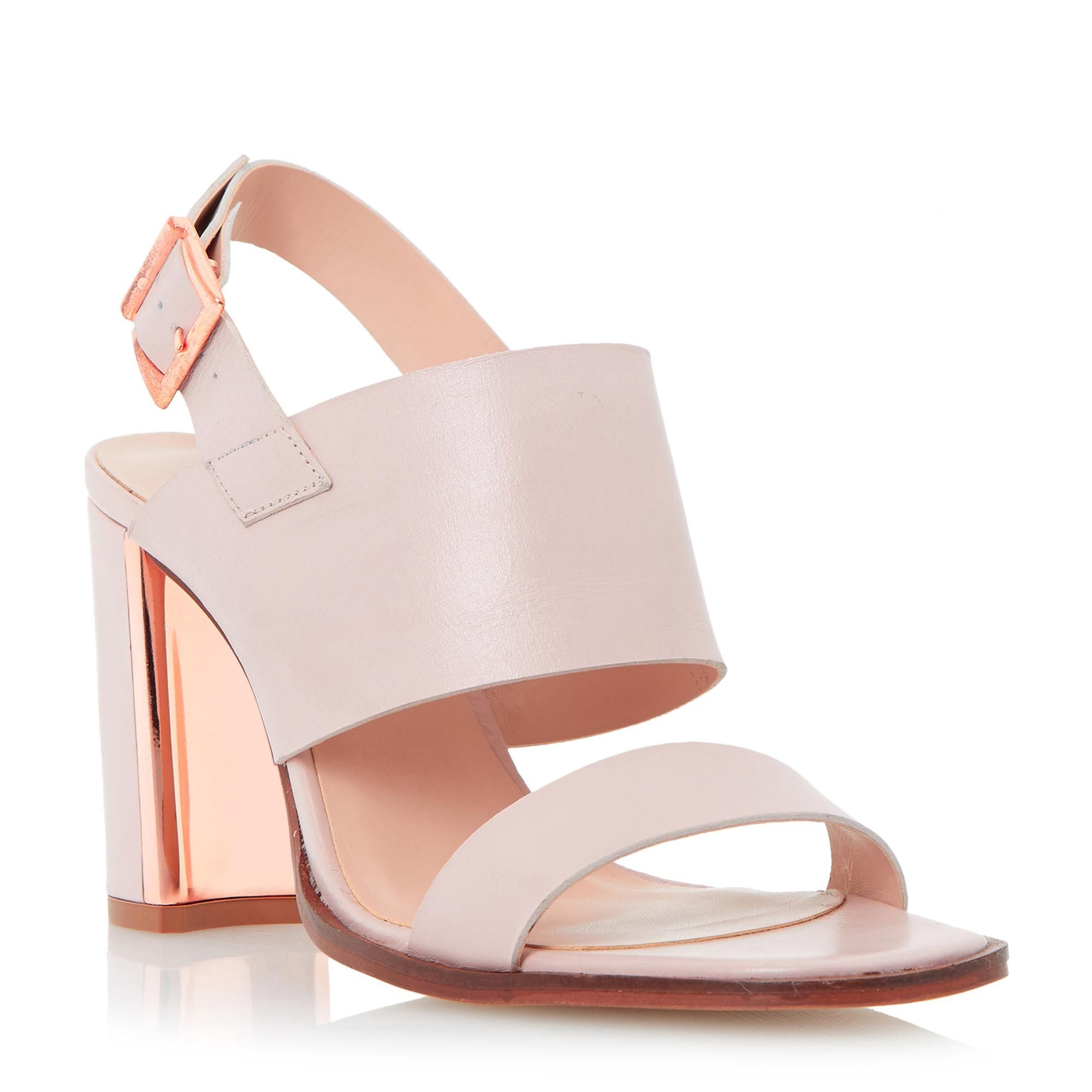 9e7429a1fe1c Dune Ladies MAIZIE Metal Trim Block Heel Leather Sandal in Blush ...