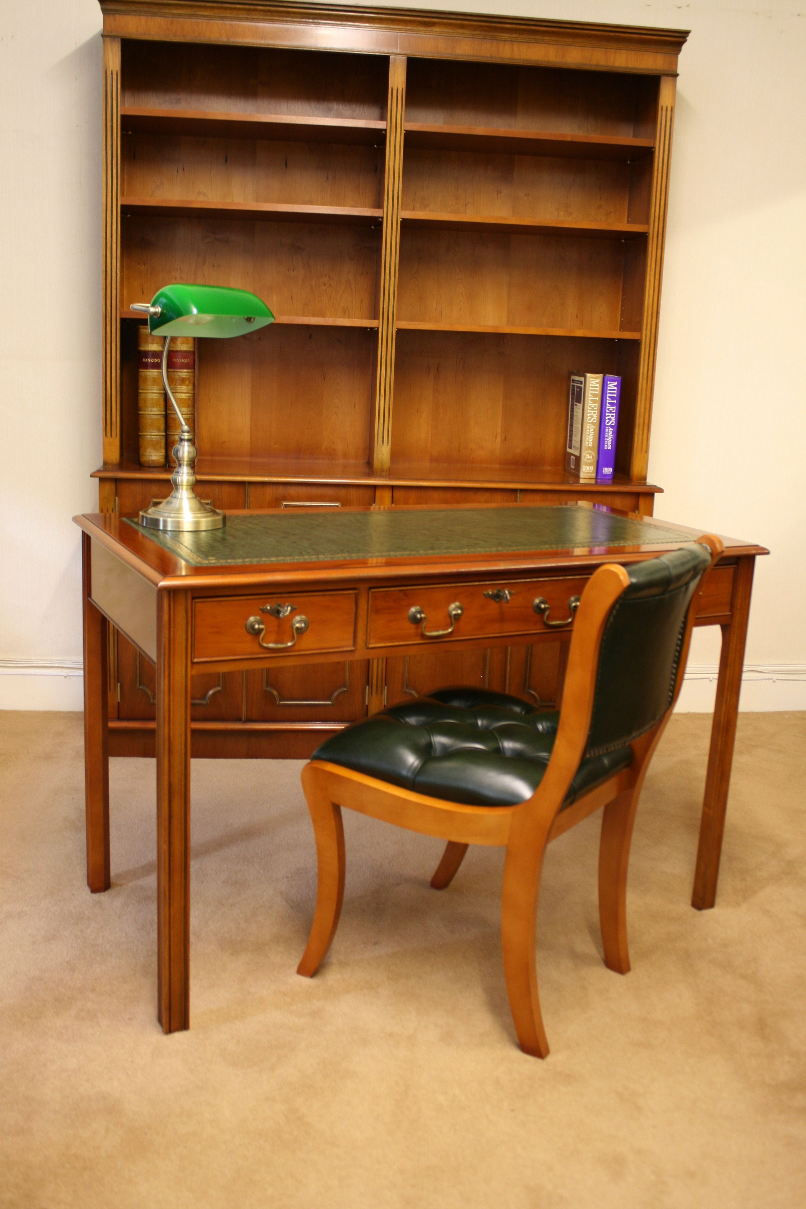 A Yewood Study Room Writing Table Bookcase And Regency