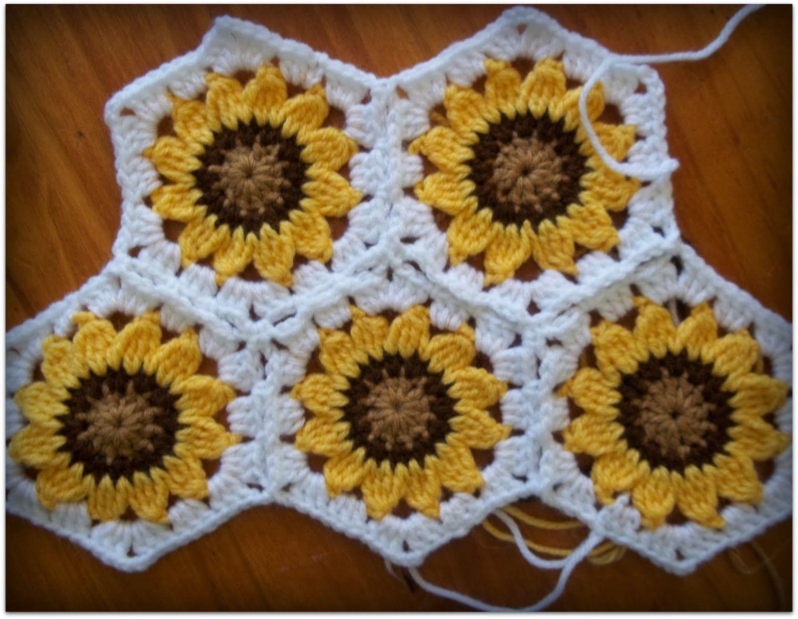 Pin By Nadine Nasypany On Craft Ideas Crochet Hexagon Blanket Crochet Sunflower Crochet Hexagon