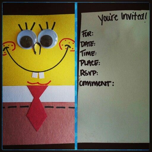 DIY Spongebob Invitations