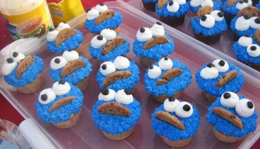 Cookie Monster cupcakes 1st Birthday Ideas Pinterest Cookie