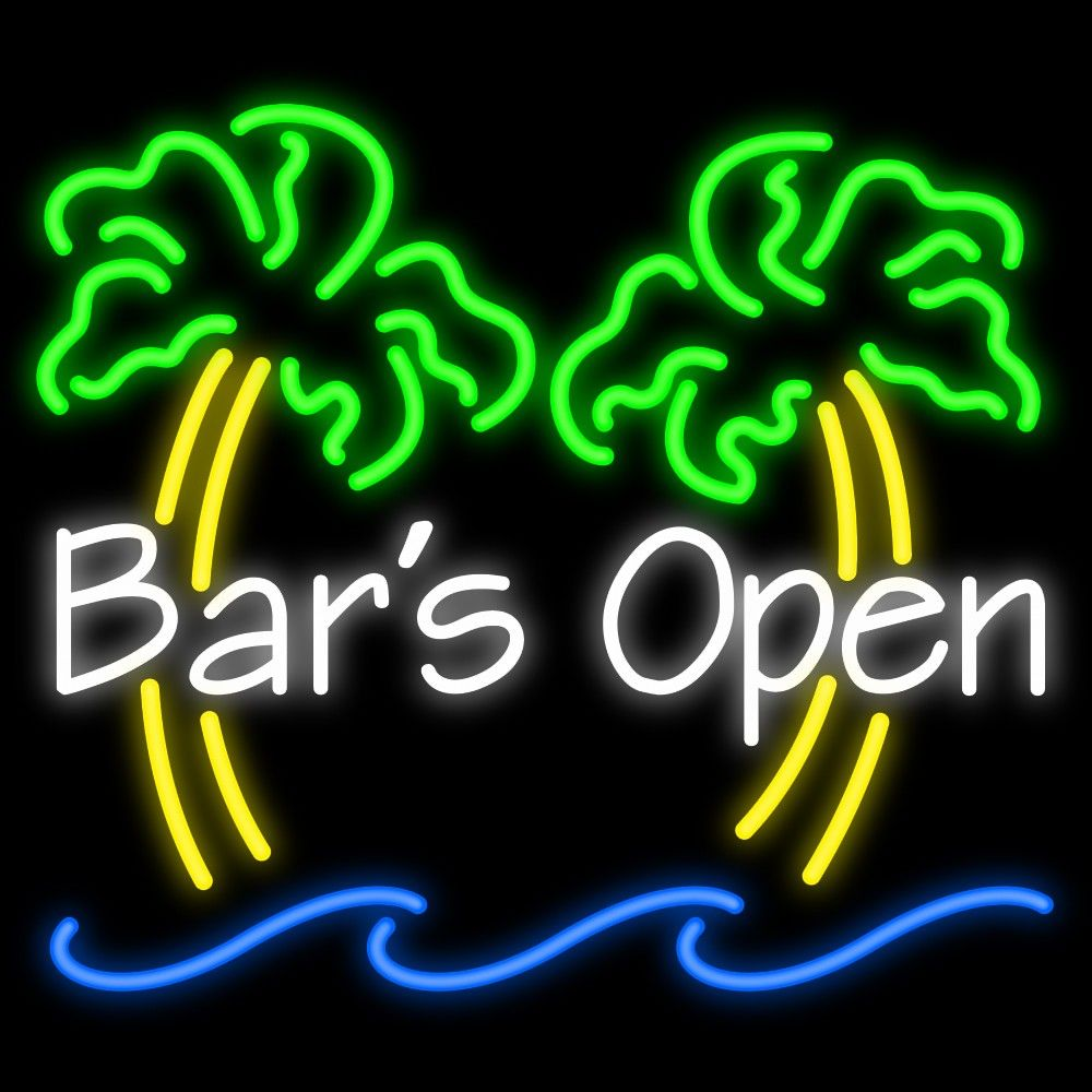 Bars Open Neon Sign Neon Signs Bar Neon Signs Party Neon Signs